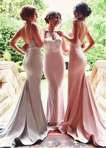 pink bridesmaid dresses long lace mermaid elegant cheap custom wedding guest