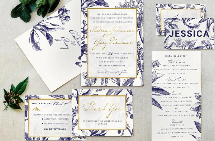 Gold Navy Wedding Template, Modern Wedding Invite Template Suite 20