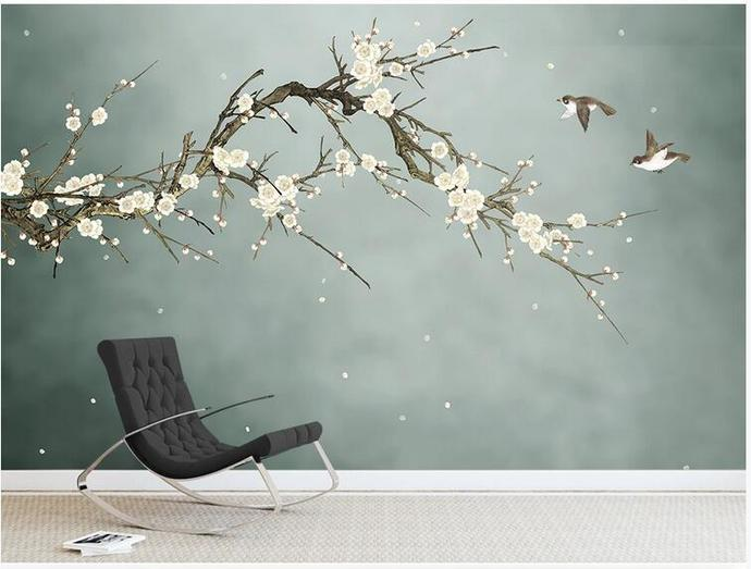 Chinoiserie Hanging Plum Tree Wallpaper, Green Background Flying Birds and