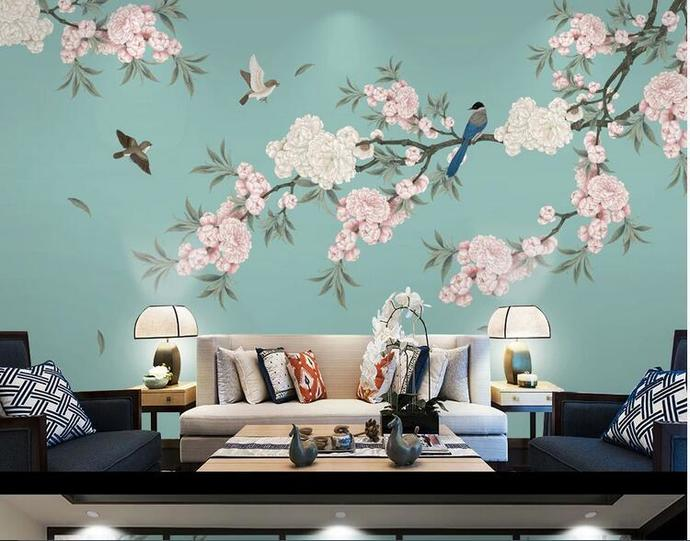 Chinoiserie Peach Blossom Wallpaper, Green Background Flying Birds and Flowers