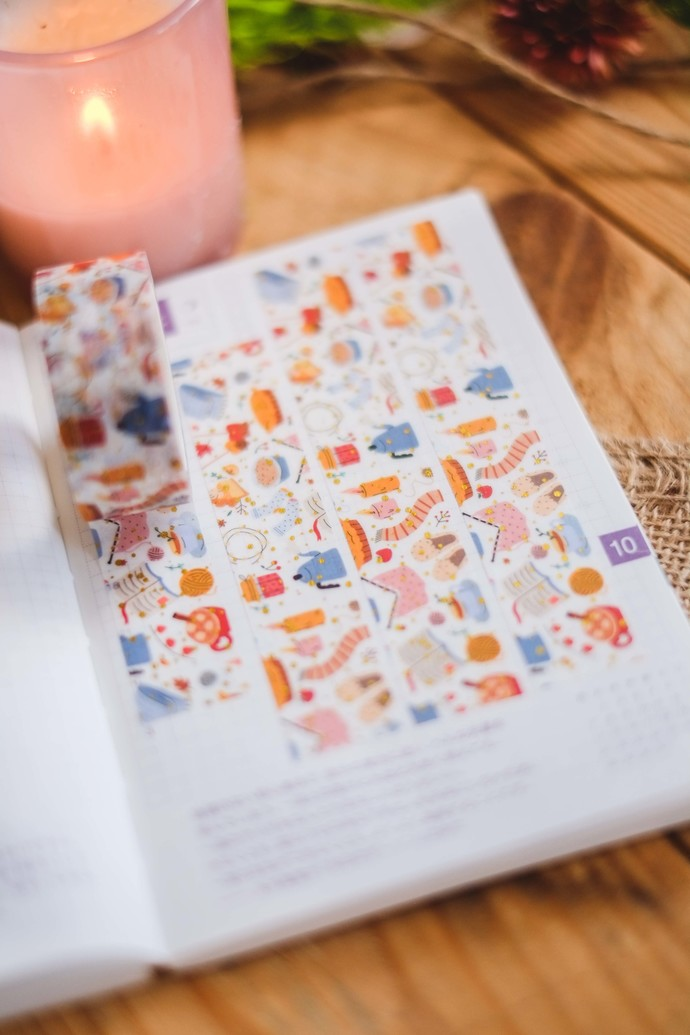 Stay Cosy - 2cm wide foil washi tape 10m - original design, perfect for
