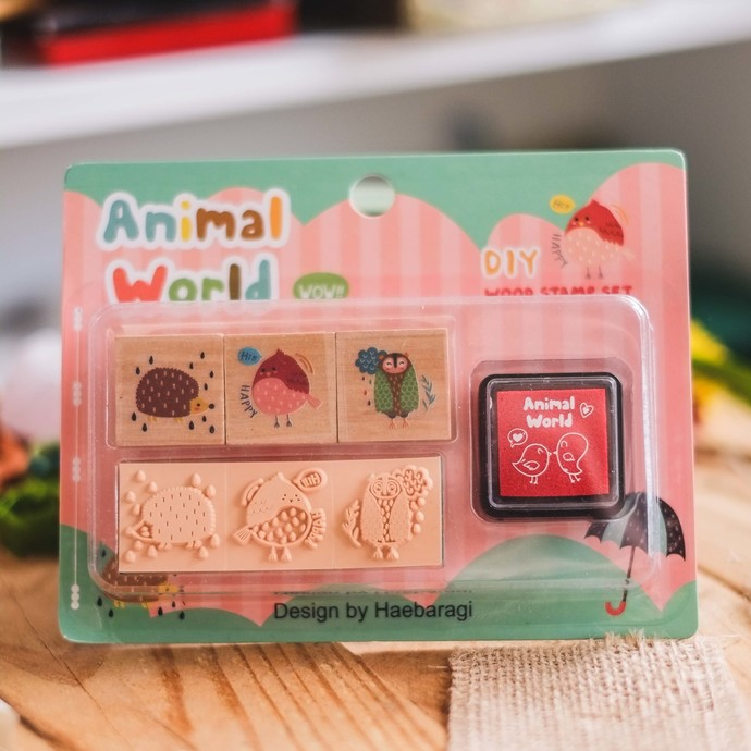 Fun & Joy- Animal Word DIY wooden stamp set - set of 3
