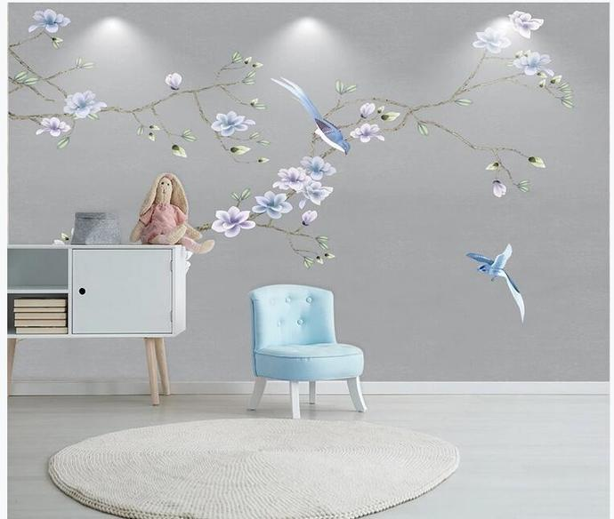 Chinoiserie Hanging Magnolia Wallpaper, Grey Background Flying Birds and Flowers