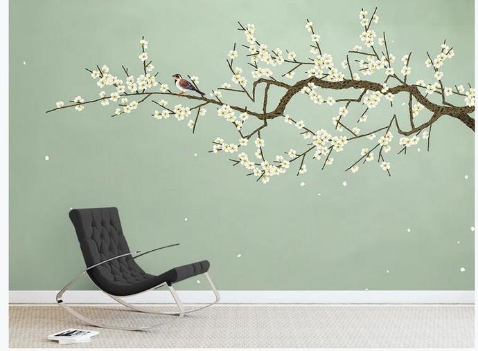 Chinoiserie Hanging Pear Wallpaper, Green Background Flying Birds and Flowers