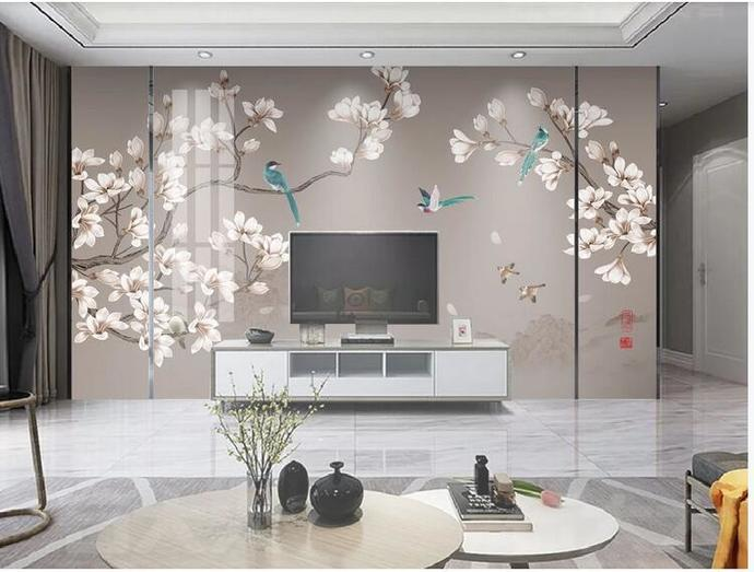 Chinoiserie Hanging Magnolia Wallpaper,  Flying Birds and Flowers Wall Mural