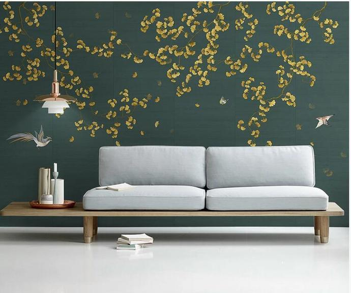 Chinoiserie Hanging Ginkgo Wallpaper,  Flying Birds Wall Mural Wall Decor for