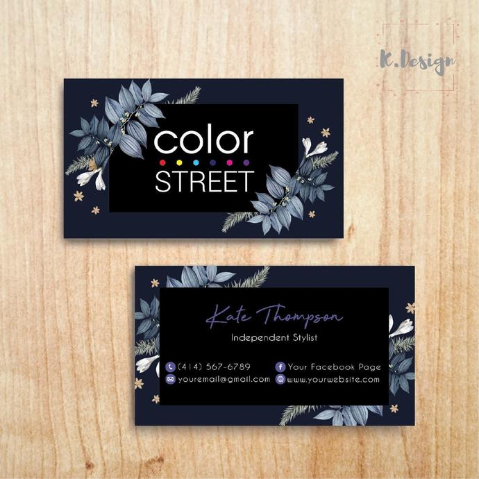 NAVY COLOR STREET BUSINESS CARDS, PERSONALIZED COLOR STREET APPLICATION CARDS