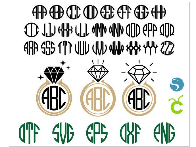 Ring Monogram Svg Round Monogram Font Otf By Hotfont On Zibbet