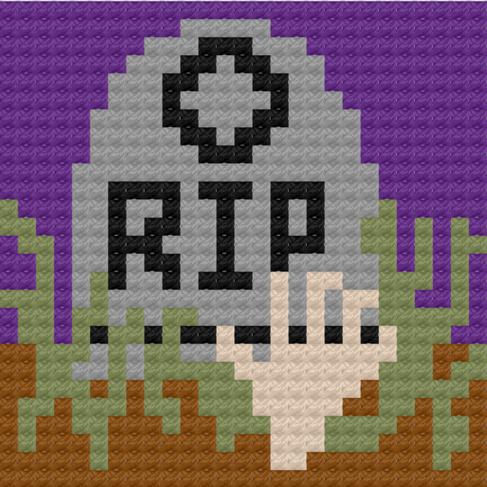 Zombie Rising from Grave Tombstone C2C Crochet Pattern Halloween Panel Graph w/