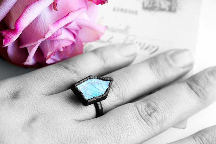 Blue Labradorite Ring ~ Black Copper Ring ~Tombstone Arrow Ring ~ Electro formed