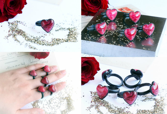 Red Heart Ring ~ Black Copper Brazilian Electro-formed Ring ~ Gift for Her ~