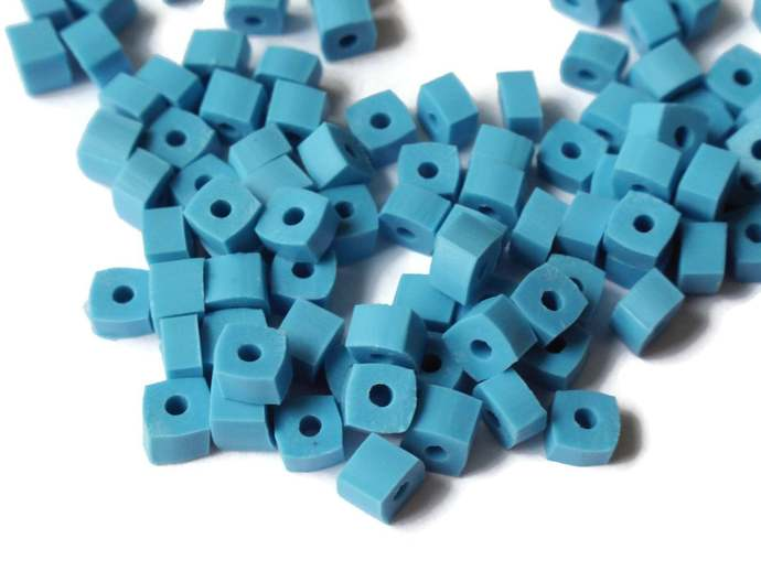 125 5mm Beads Square Beads Small Beads Blue Beads Cube Beads Vintage Beads