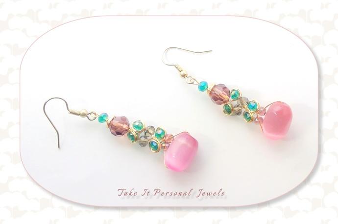 Pink Cat Eye Crystal Earrings WireWork Jewelry