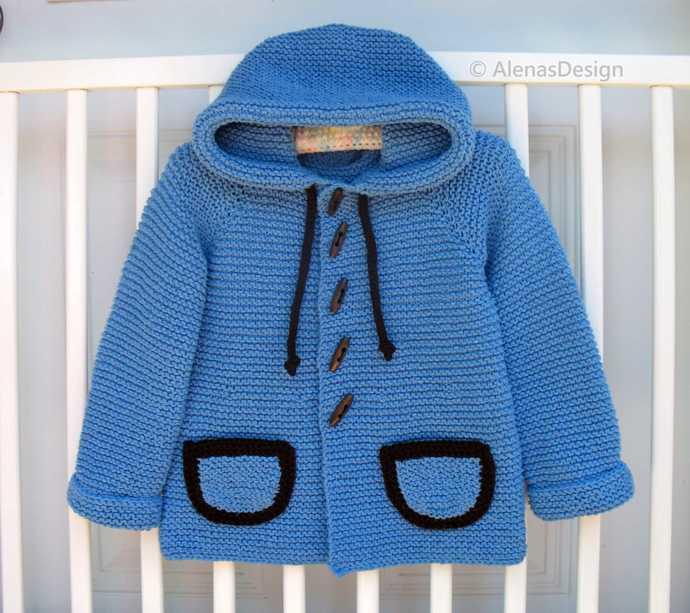 Girls Boys Hooded Jacket Cardigan Knitting Pattern #250