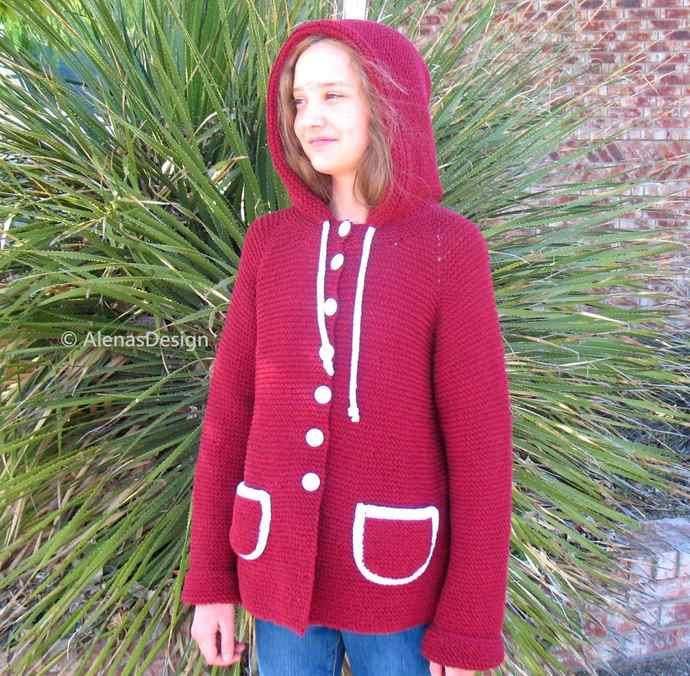 Children's Cardigan Knitting Pattern #250 Hooded Jacket Girls Boys Toddler
