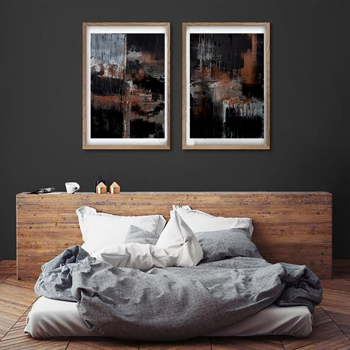 Black and orange Abstract Art, Modern Art Prints, Set of Two industrial