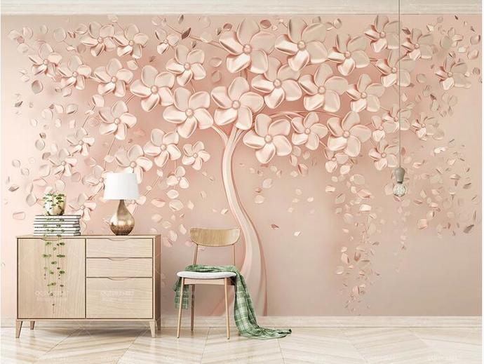 Custom Mural Wallpaper 3D Stereo Creative Blossom Tree Wall Painting Living Room