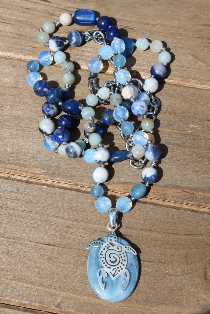 Turtle Lover Long Hand knot beaded Necklace with Pendant Nautical Jewelry by