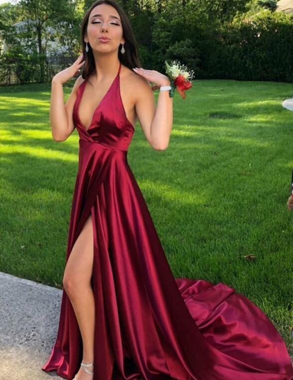 Sexy Burgundy Satin Halter Long Prom Dress, Slit Party Dress