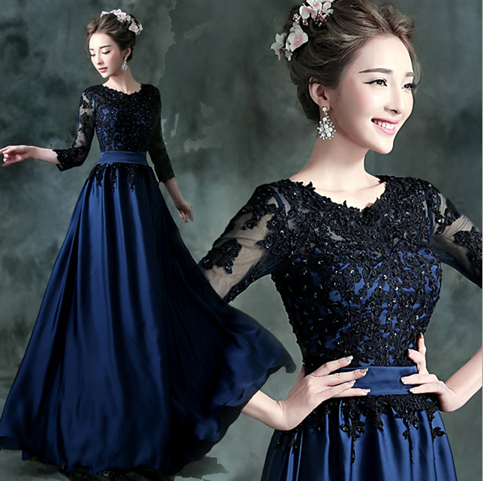 Blue Satin with Black Lace 1/2 Sleeves Long Party Dress, Blue Bridesmaid Dress