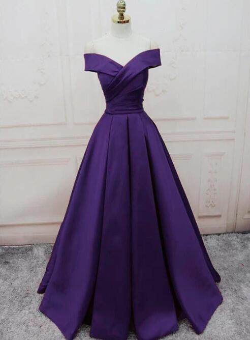 Charming Purple Satin Long Off Shoulder Prom Dress, Junior Prom Dress