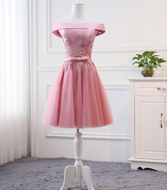 Pink Tulle Off Shoulder Cute Short Party Dress, Pink Bridesmaid Dress