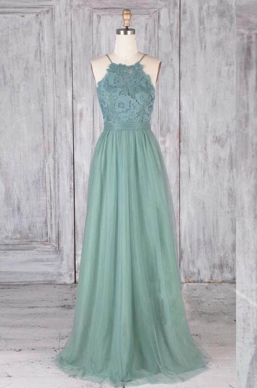 Elegant Light Green Lace and Tulle Bridesmaid Dress, Long Prom Dress