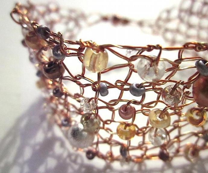 Copper & Gold Knit Wire Designer Jewelry Bracelet