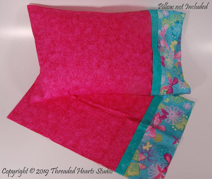 Pretty in PInk Butterflies Pillow Case, Travel Size Pillow Case