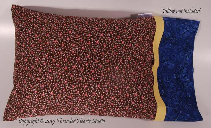 Travel Pillow Case with Brown and Roses