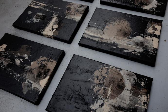 Set of 6, textured abstract set , contemporary art, modern art , abstract