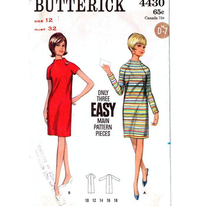 Butterick 4430 Misses Slim Dress 60s Vintage Sewing Pattern Size 12 Bust 32 Easy
