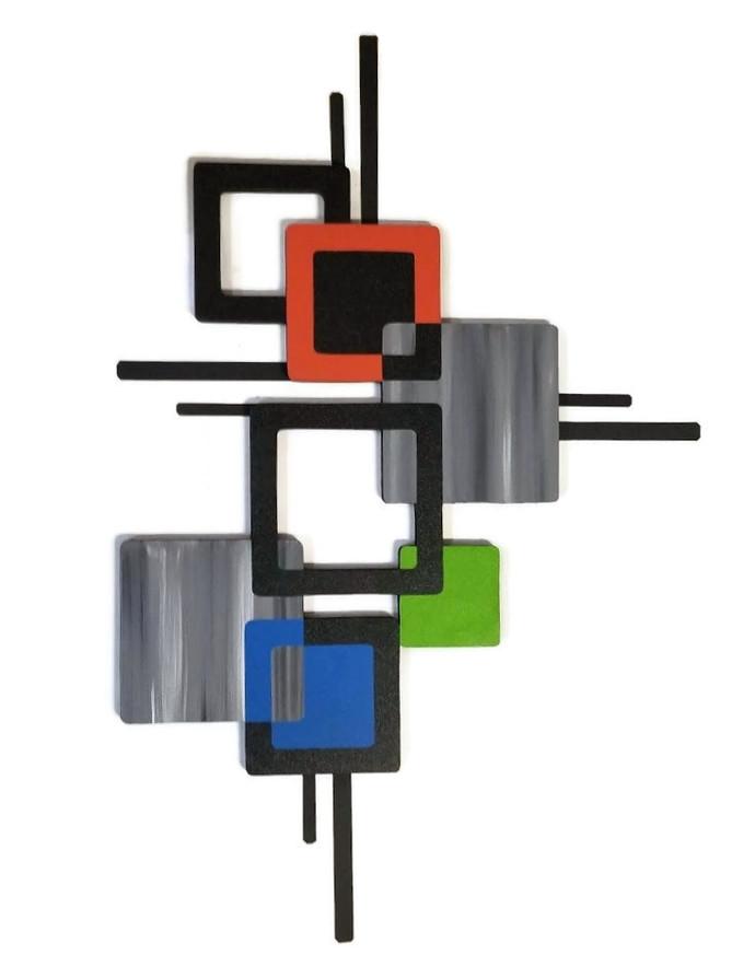 Modern Wall Sculpture, Mid Century Modern Square Wall Art, by Alisa Vertical