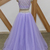 Lavender Tulle Two Piece Long Beaded Prom Dress, New Party Dress