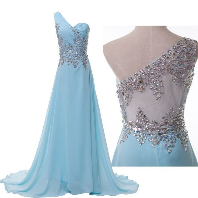 Blue Chiffon One Shoulder Beaded Long Party Dress, New Prom Dress