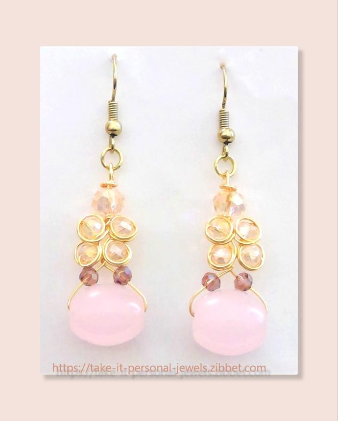Pink Crystal Earrings Wire Work Hypoallergenic Jewelry