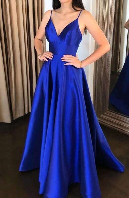Blue Satin Simple Straps Long Evening Gown, Royal Blue Party Dress
