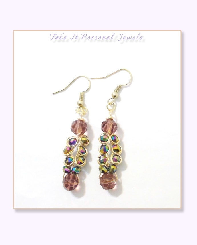 Wire Wrapped Purple Peacock Earrings Gift for Her