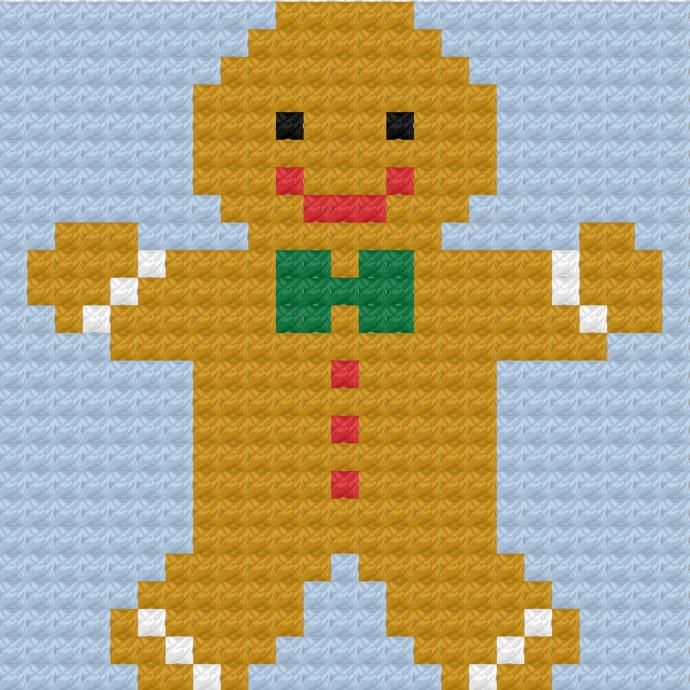 Gingerbread Man Crochet Pattern Throw Pillow PDF Graph Row by Row Written Color
