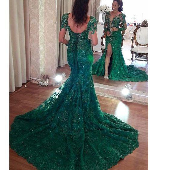 green evening dresses long sleeve deep v neck modest lace appliqué elegant