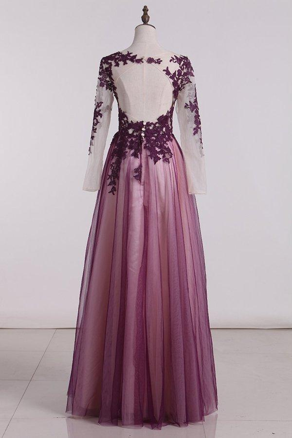 Purple Tulle Long Sleeves with Lace Wedding Party Dress, Long Prom Dress