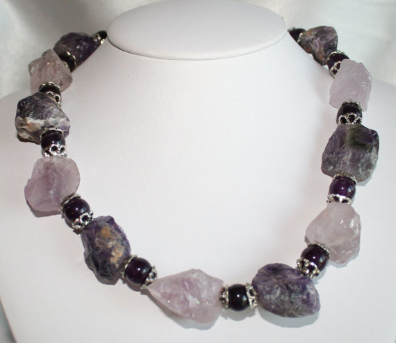 Raw Rough Purple Amethyst Crystal Statement Necklace, Chunky Hammered Nuggets in