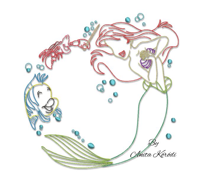 The Little Mermaid Outline Embroidery Machine Design Flounder Sebastian Bubbles