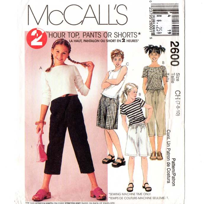 McCall's 2600 Girls 2 Hr Top, Pants, Shorts Vintage Sewing Pattern Uncut Size 7,