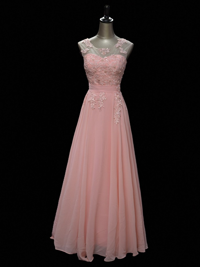 Lovely Light Pink Chiffon with Lace Long Bridesmaid Dress, New Prom Dress
