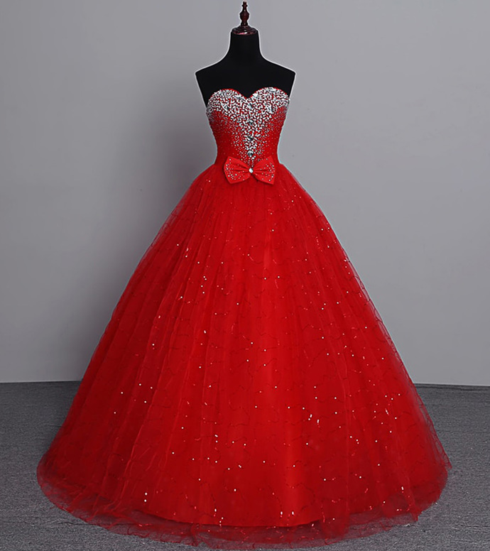 Red Sweetheart Tulle Beaded Long Party Dress, Red Prom Dress 2020