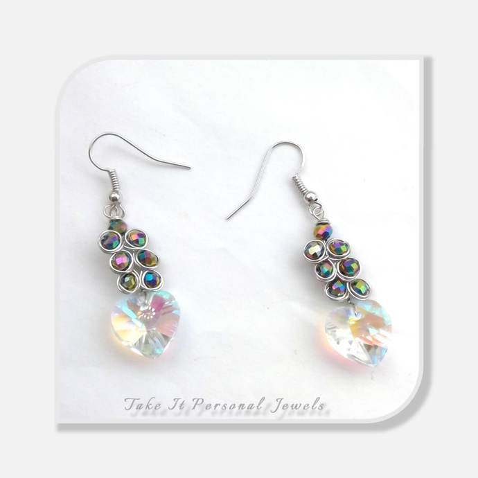 Crystal Heart Peacock Earrings Swarovski Jewelry Gift