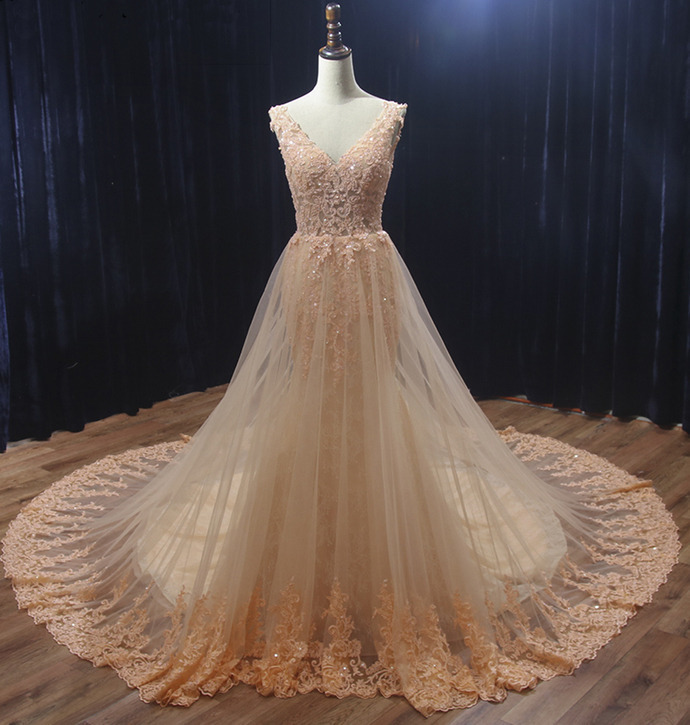 Charming Pearl Pink Tulle V-neckline Long Party Dress, Lace Applique Wedding