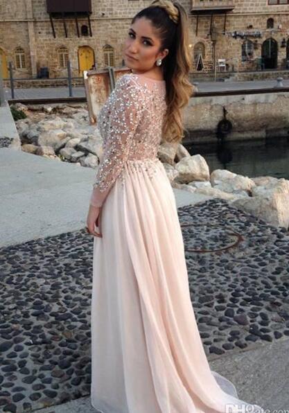 Light Pink Long Sleeves Beaded Prom Dress, Chiffon Evening Dress
