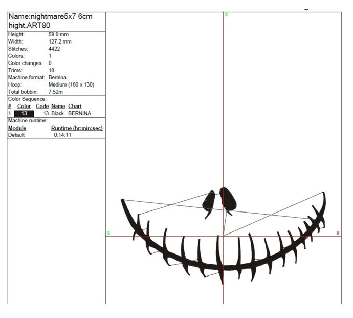 Nightmare Face Embroidery Machine Designs Jack Mouse Pes Instant Digital